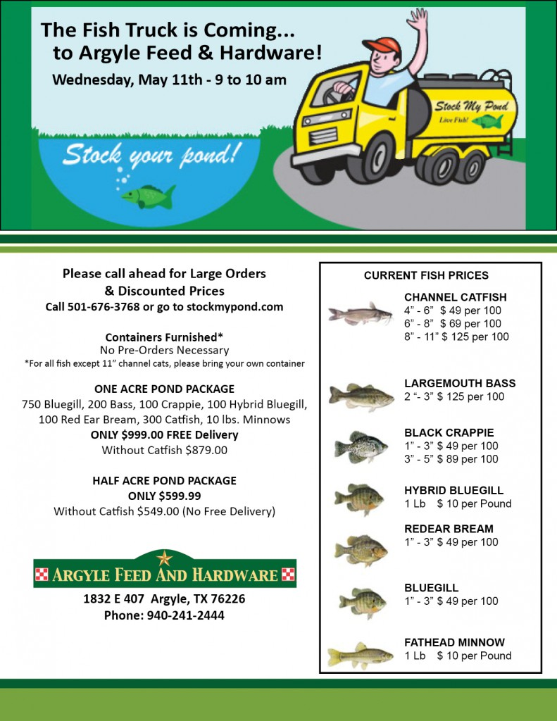 Stock My Pond Fish Truck Visits Argyle Feed Argyle Feed Store
