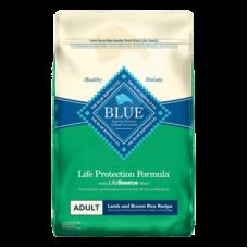 Blue Buffalo Life Protection Formula Lamb and Brown Rice Dog Food. Green and blue bag.