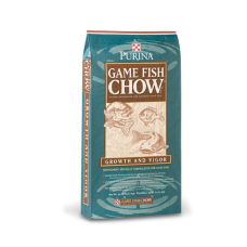 Purina Game Fish Chow in a teal and brown bag with a fish