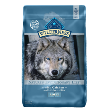 Chicken Recipe Grain-Free Dry Dog Food. Blue and grey feed bag.