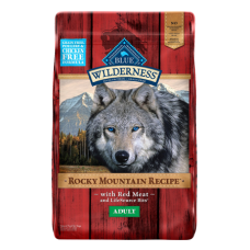 Red Meat Adult Grain-Free Dry Dog food. Red feed bag.