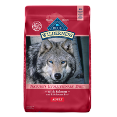Blue Buffalo Wilderness Salmon Recipe Grain-Free dry dog food. Red feed bag with image of a wolf..