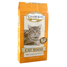 Country Acres dry cat food. Yellow bag with image of a cat.