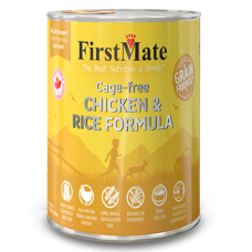 FirstMate Cage-free Chicken & Rice Formula for Cats. Wet cat food in yellow can.