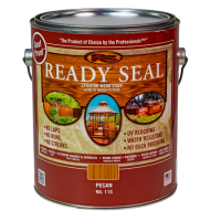 Ready Seal Pecan 115 Stain and Sealer in silver pail with dark red label