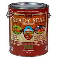 Ready Seal Mission Brown 135 Stain and Sealer in silver pail with dark red label