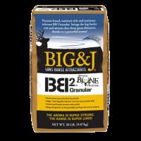 Big & J BB2 Granular Deer Attractant. Gold and black bag.