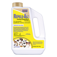 Bonide Repels-All Animal Repellent Granules. White plastic container with yellow label.