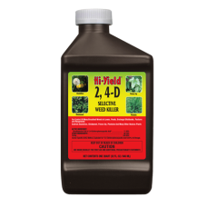 Hi-Yield 2,4D Selective Weed Killer. Brown bottle with colorful label.