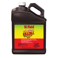 Hi-Yield Killzall Super Concentrate Weed & Grass Killer. Brown jug with colorful label.