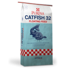 Purina Catfish 32 in a red white and blue bag