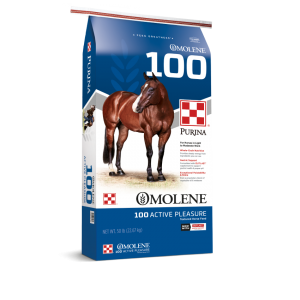 Purina Omolene #100 Active Pleasure Horse Feed | bag of Purina Omolene 100 Horse Feed