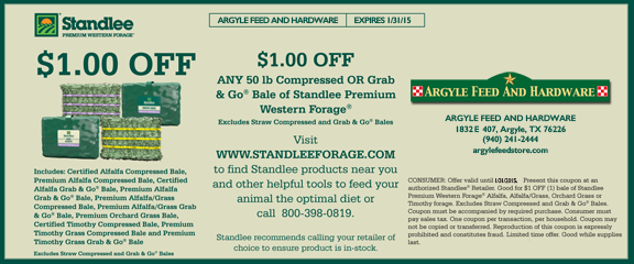 Standlee Hay Coupon